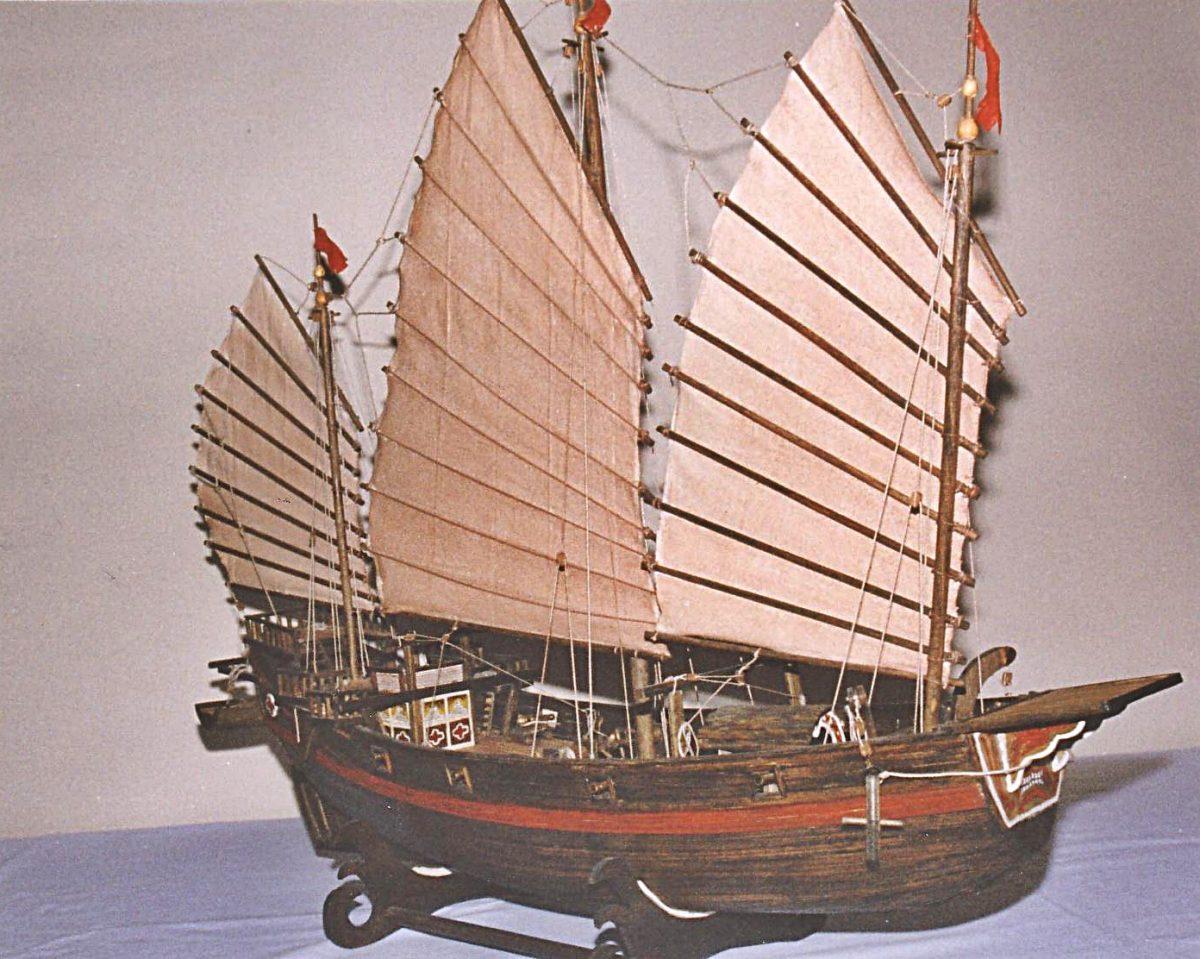 Chinesische Piratendschunke, historisches Schiffsmodell